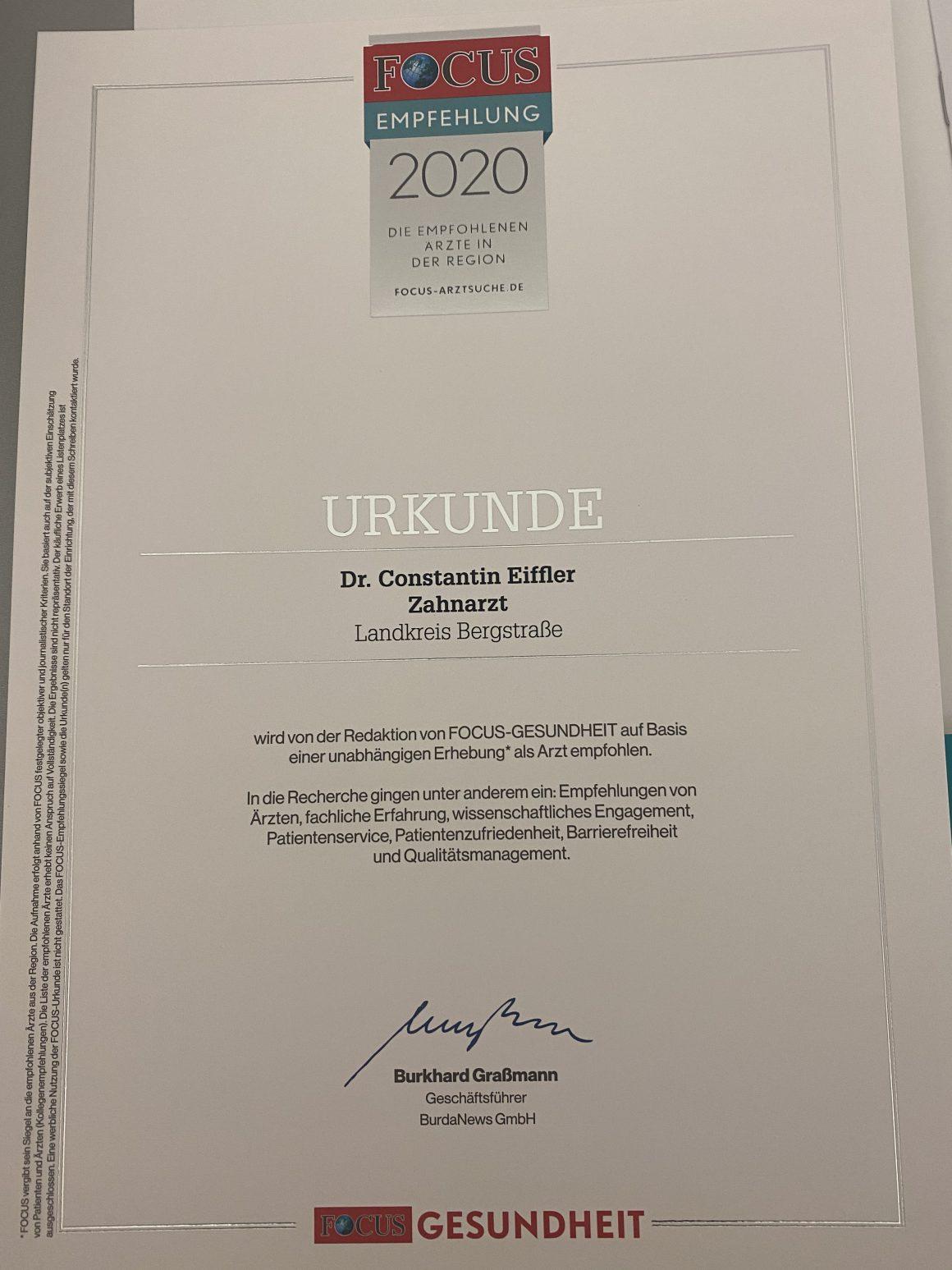 """Empfehlung unserer Praxis vom Magazin """"Focus"""""""